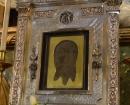 """Relicario de bronce plateado de la Santa Faz, popularmente conocido como """"La Cara de Dios"""""""